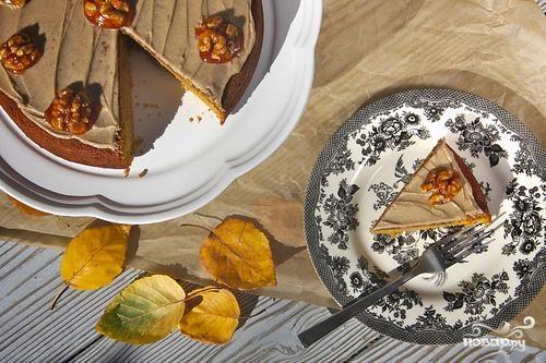 Тыквенный пирог с кремом из коричневого масла