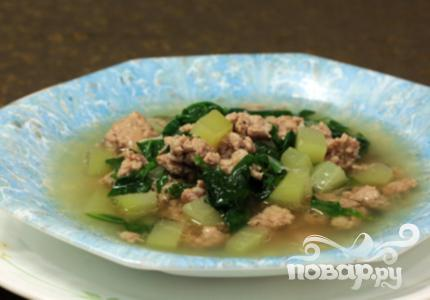 Рецепт Суп со свининой, шпинатом и чейотом