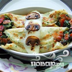 Рецепт Блинчики со шпинатом, беконом и грибами