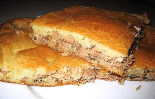 Пирог с консервой в духовке