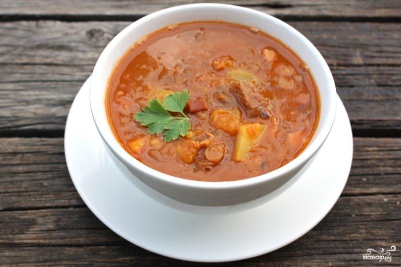 Чечевичный суп с копченостями рецепт с фото