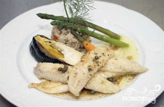 Рецепт Камбала с соусом из креветок