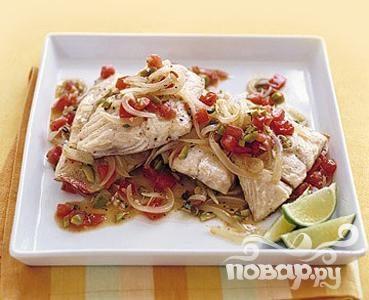 Рецепт Рыба с оливками и помидорами