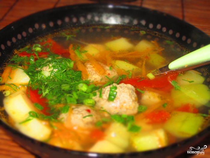 Рецепт Суп с фрикадельками из фарша и колбасы
