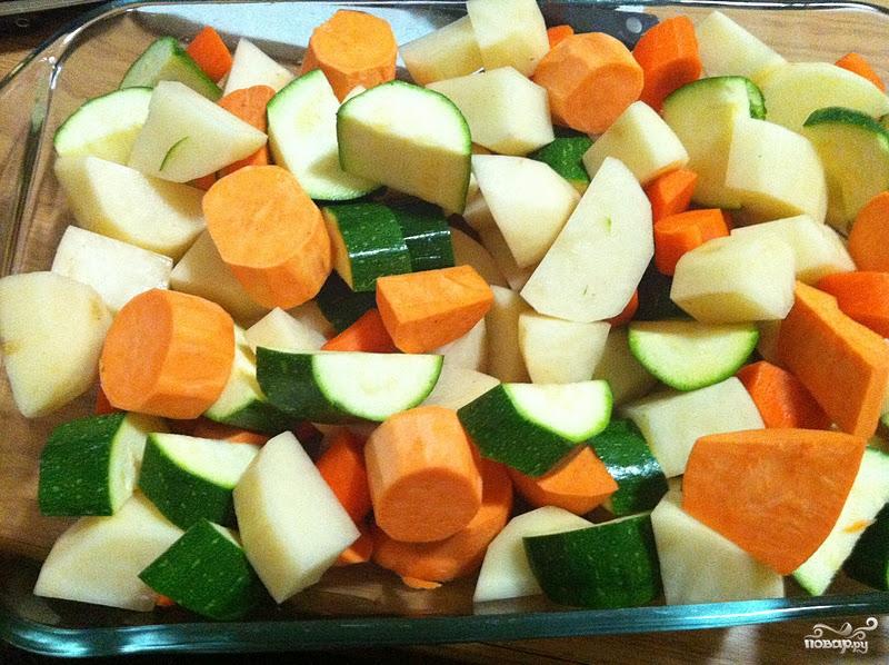 Рецепт Картофель с овощами запеченный