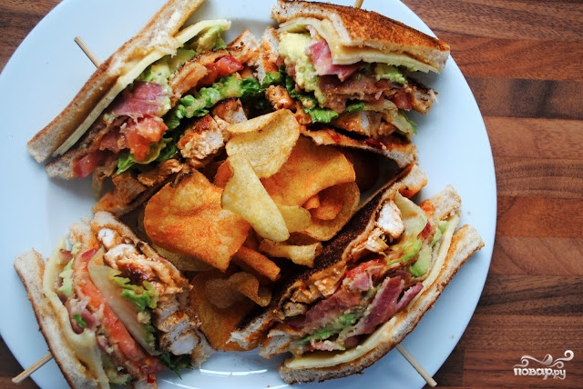 Клубный сэндвич с курицей - фото шаг 12