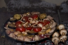 Садж из баранины с грибами и баклажанами