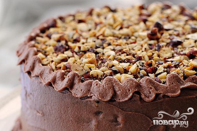 Шоколадный пирог с орехами - фото шаг 9