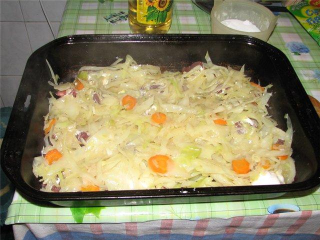 Рецепт Говядина с капустой в духовке