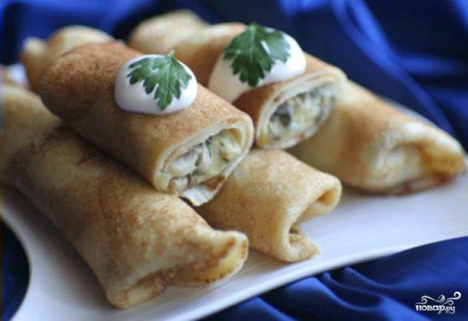 Рецепт Блинчики с грибами и картошкой