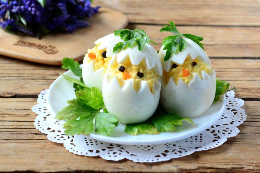 """Вареные яйца на Пасху """"Цыплята"""""""