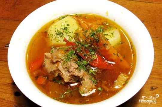 Рецепт Шурпа из говядины в казане