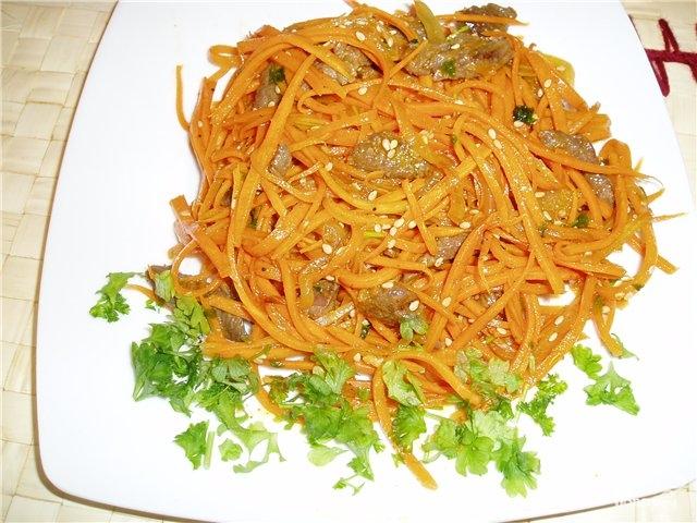 рецепт салата из моркови со свининой