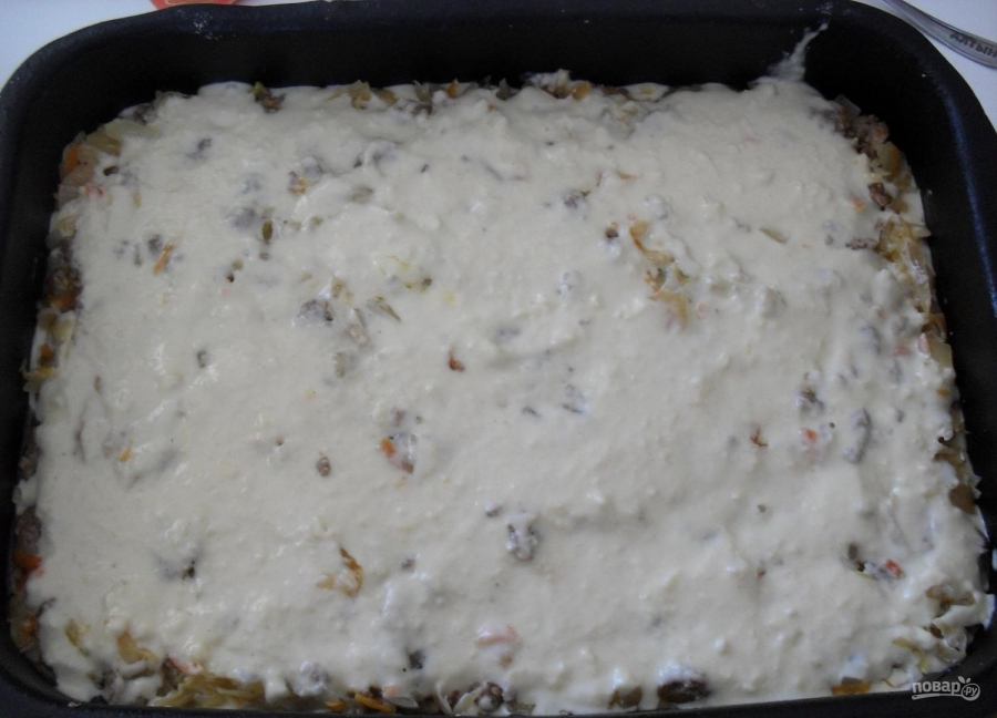 Пирог с капустой и мясом - фото шаг 7