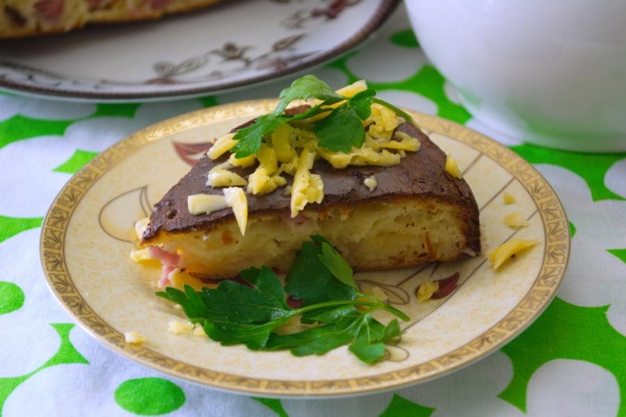 Пирог с сыром и ветчиной - фото шаг 5