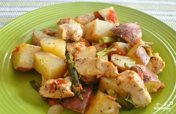 Куриная грудка с картошкой в духовке