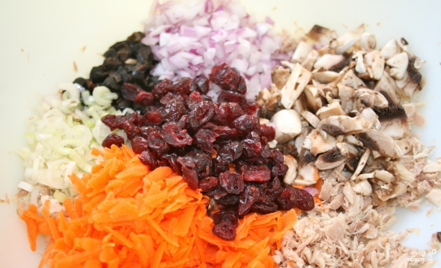 салат сказка с шампиньонами рецепт с фото