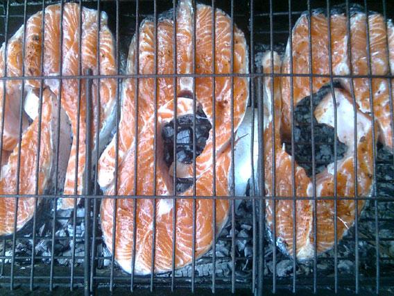Шашлык из рыбы на костре - фото шаг 4