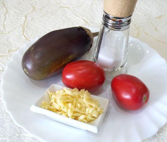Рецепт Горячая закуска из баклажанов и помидоров под сыром