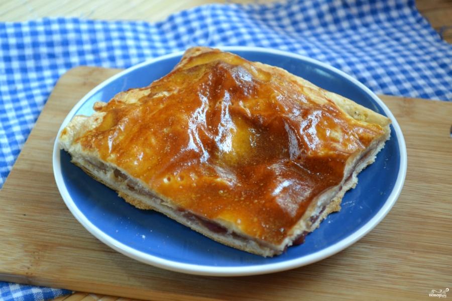 Пирог с малиной из слоеного теста - фото шаг 4