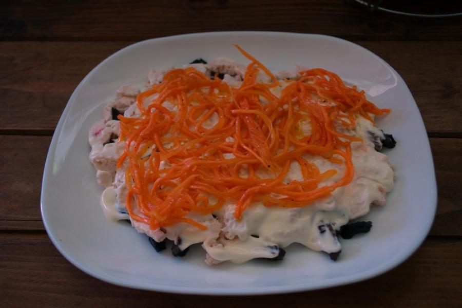 Салат с морковью по-корейски с черносливом