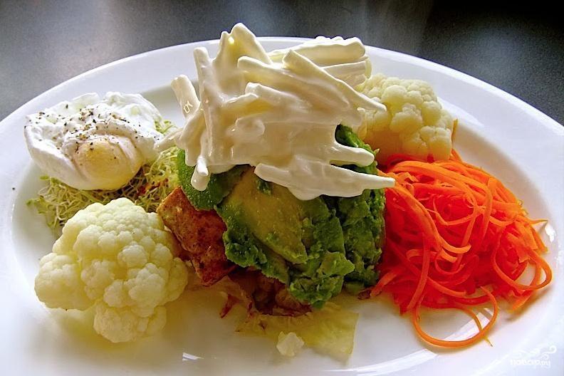 Рецепт Обжаренная цветная капуста с яйцом-пашот