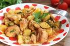 Тушеная картошка со свининой на сковороде