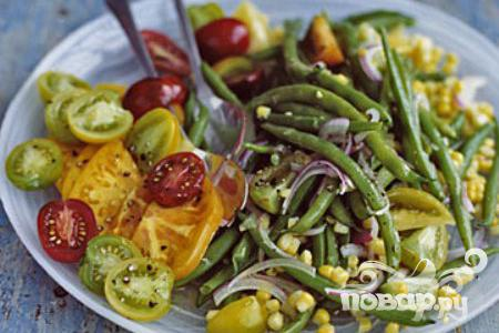 Рецепт Салат с зеленой фасолью, кукурузой и помидорами