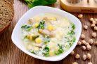 Суп из шпината и бараньего гороха