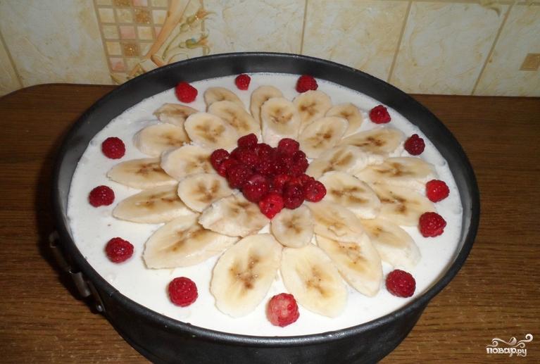 Торт без выпечки с желатином и фруктами - фото шаг 8