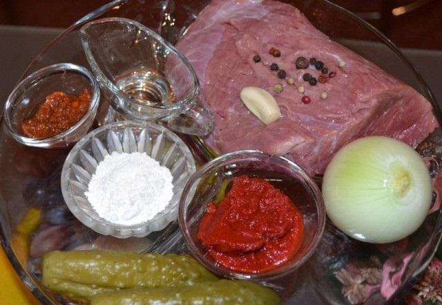 Рецепт Азу с солеными огурцами