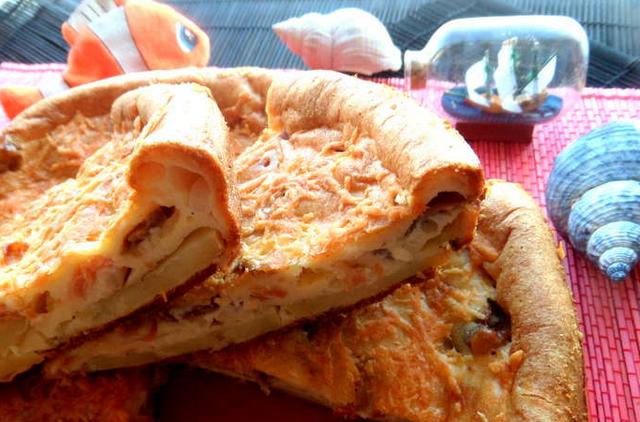 Наливной пирог с рыбой - фото шаг 12