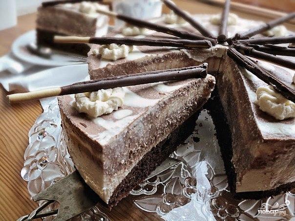 """Рецепт Торт """"Зебра"""" с творожным и шоколадным кремом"""