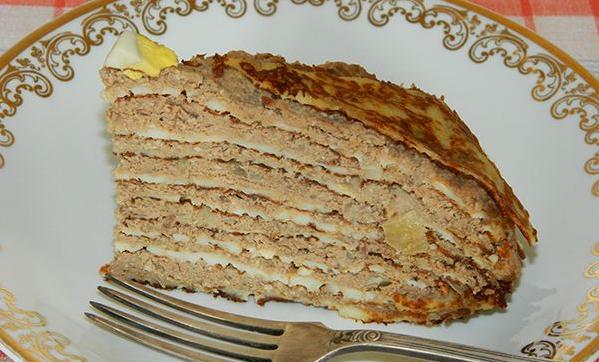 Блинный торт с печенью - фото шаг 4