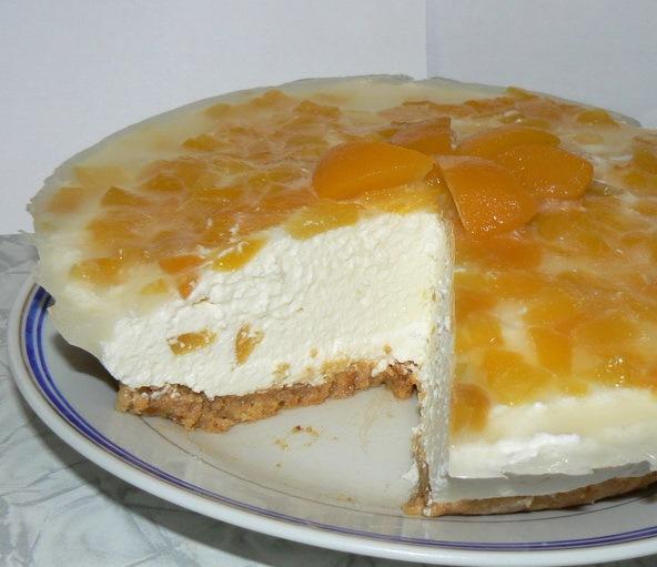 Чизкейк без выпечки с персиками - фото шаг 8