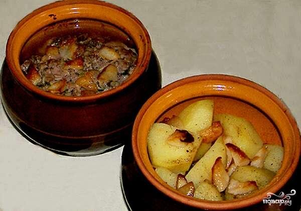 Рецепт Картофель с салом в горшочке