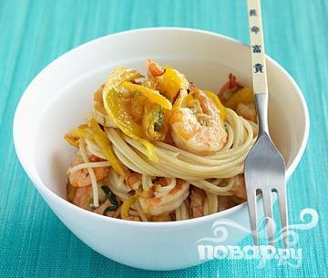 Рецепт Спагетти с креветками и овощами