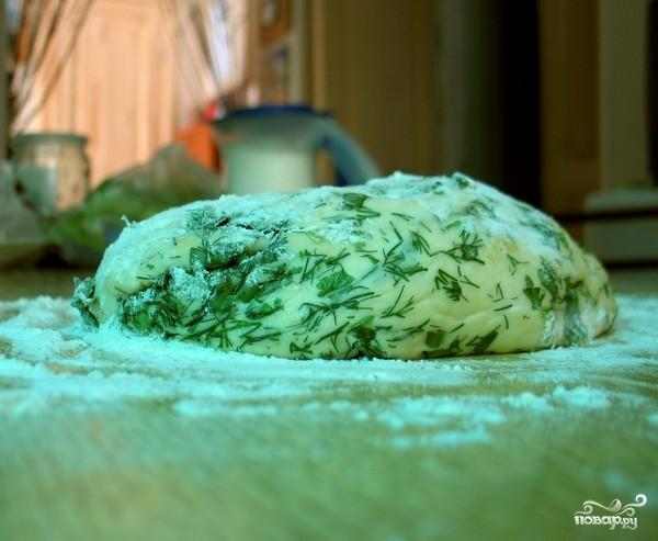 Лепешка с травами - фото шаг 5
