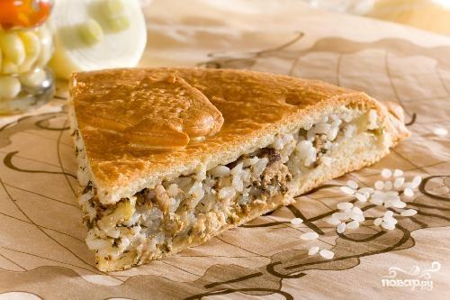 Рецепт пирога с рисом и рыбной
