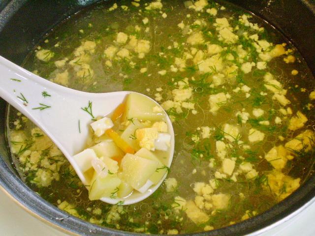 Яичный суп с курицей - фото шаг 6