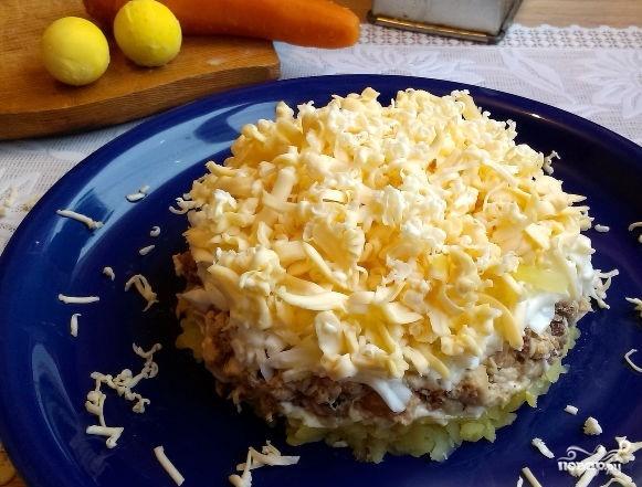 Мимоза с картошкой и сыром фото