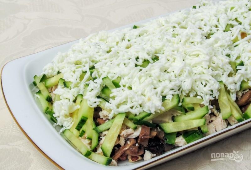 салат из курицы с грибами рецепт слоями с