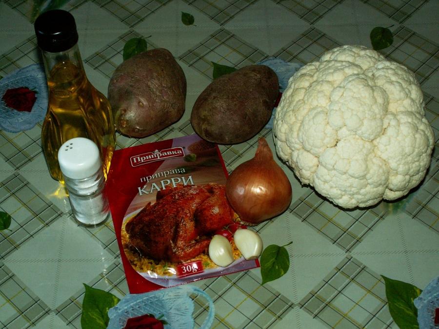 Рецепт Тушеная картошка с цветной капустой