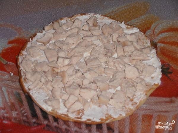 Блинный пирог с курицей и грибами - фото шаг 12