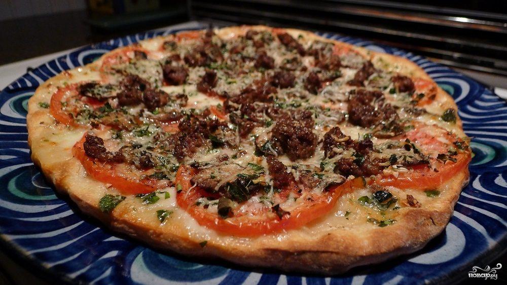 Рецепт Пицца с мясом и грибами
