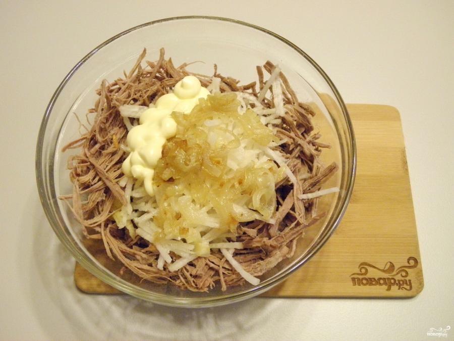 салат с редькой и мясом пошаговый рецепт