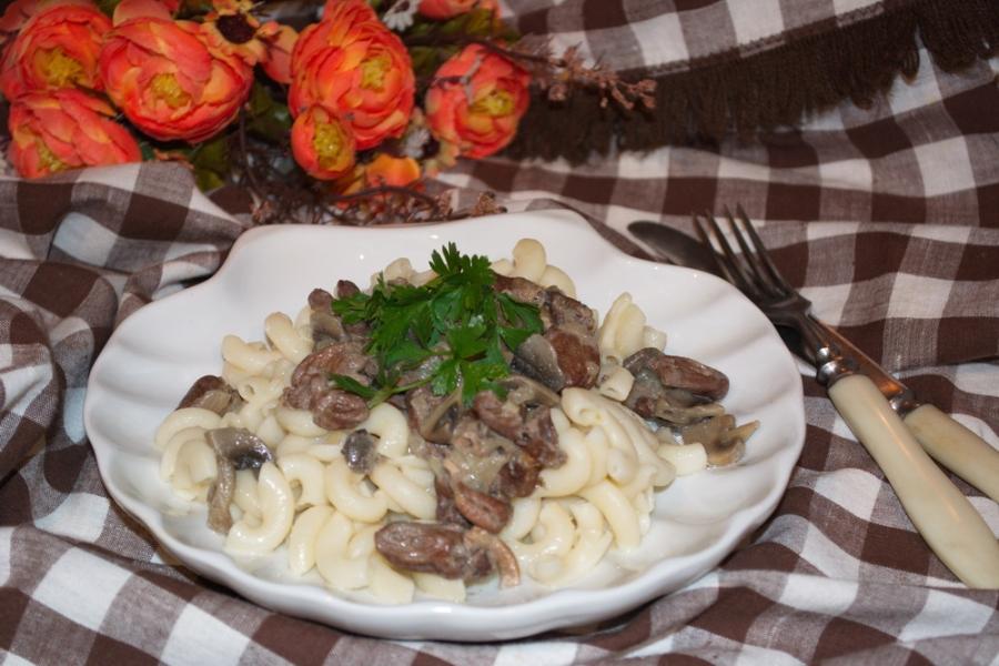 Куриные сердечки с грибами рецепт с фото