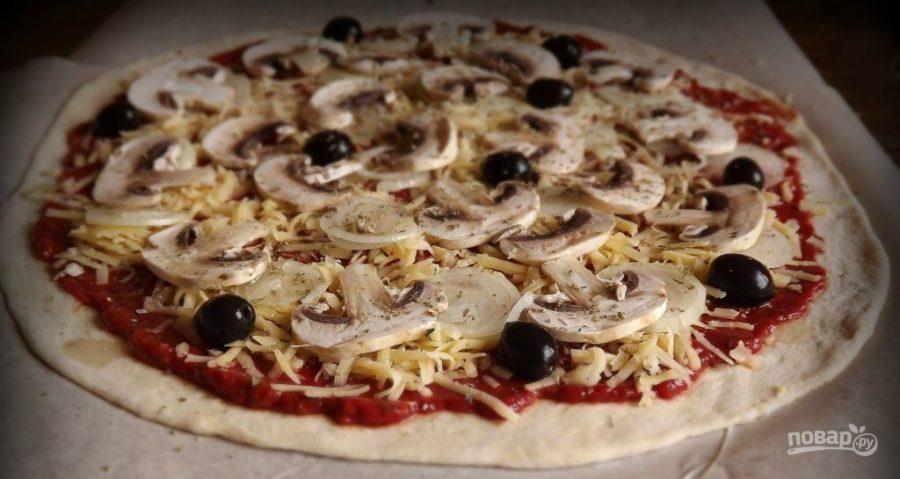 Пицца с грибами рецепты с пошаговые
