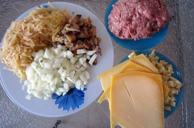 Рецепт Грибы с фаршем и картошкой