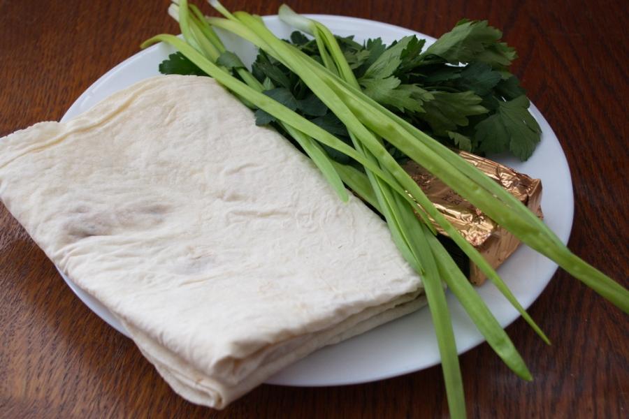 Рецепт Лаваш с плавленым сыром и зеленью
